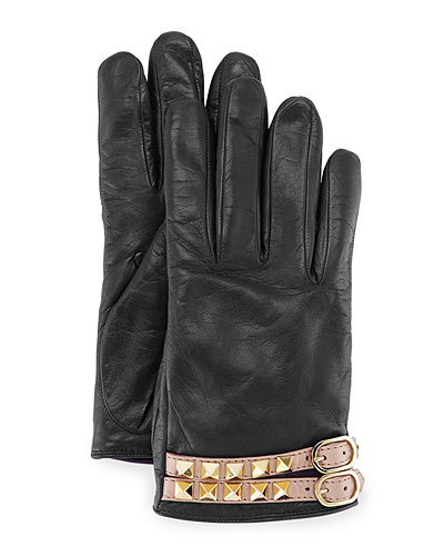 Rockstud Napa Leather Gloves
