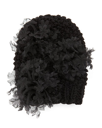 Bloom Knit Beanie Hat with Organza Flowers