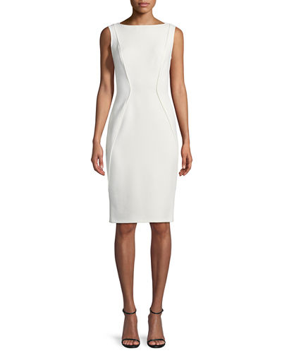 Sleeveless Boat-Neck Sheath Dress