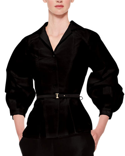 Silk Faille Balloon-Sleeve Blouse