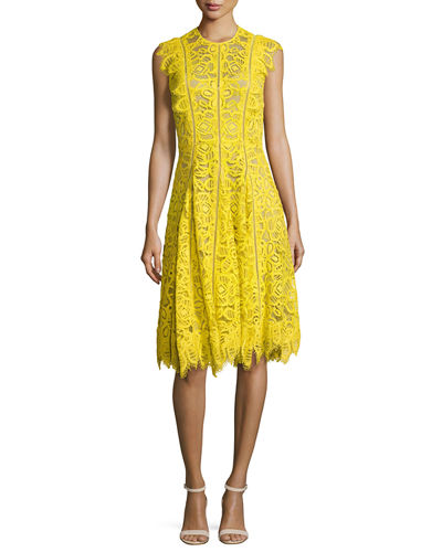 Collared Ruffled-Trim Lace Dress, Yellow