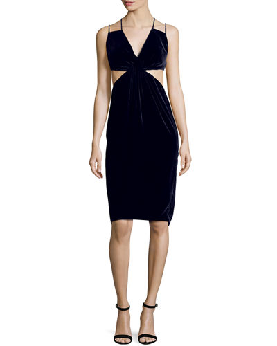 Cushnie Et Ochs Cutout Double-Strap Velvet Dress