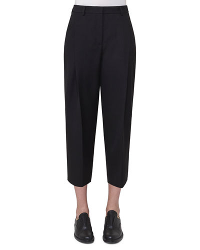 Flori Slouchy Cropped Pants, Black
