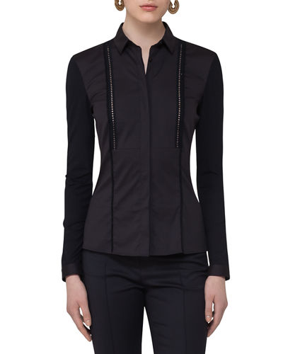 Stretch-Woven Ladder-Stitch Blouse