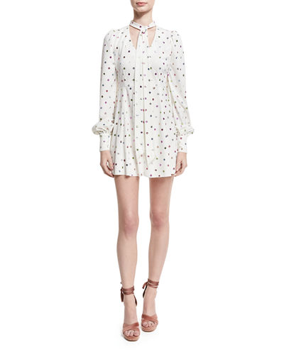 Marc Jacobs Glittered Polka-Dot Tie-Neck Cocktail Dress