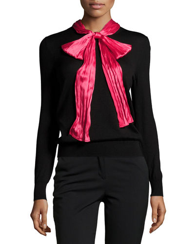 Cashmere/Silk Top w/Contrast Bow