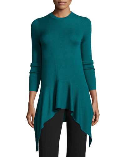 Long-Sleeve Crewneck Asymmetric Sweater