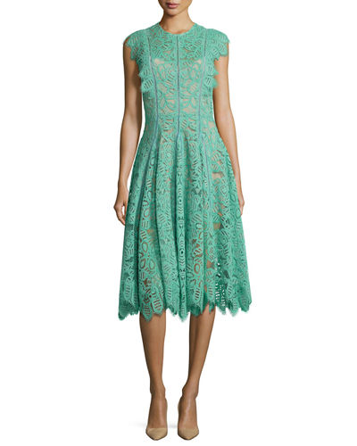 Ruffled-Trim Lace Dress