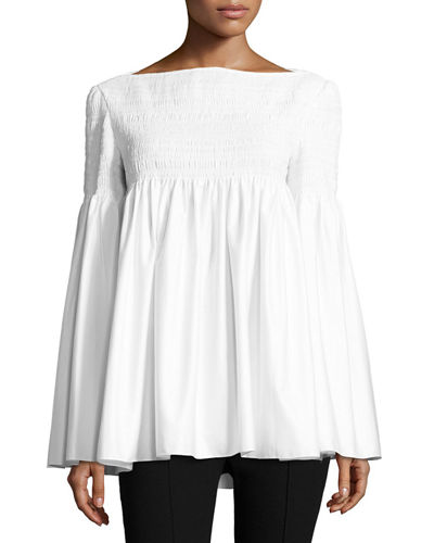 Burton Smocked Poplin Top