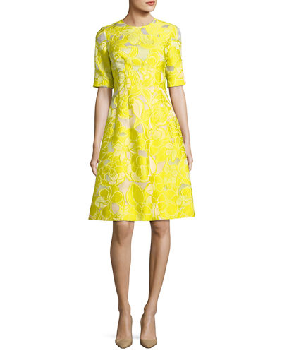 Holly Floral Fil Coupe Half-Sleeve Dress
