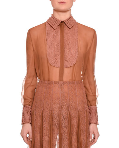 Long-Sleeve Lace-Trim Chiffon Blouse