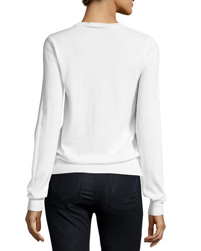 Dove-Embroidered Knit Sweater