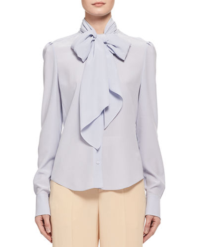 Silk Crepe Long-Sleeve Tie-Neck Blouse