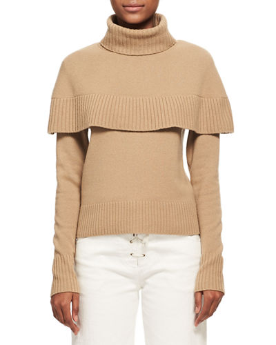 Cashmere Capelet Turtleneck Sweater