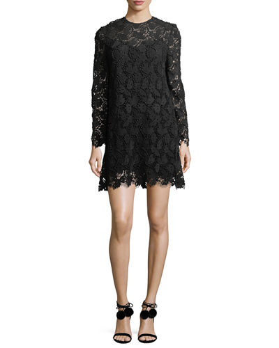 Long-Sleeve Macramé Lace Minidress