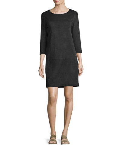 Rina Stretch-Suede 3/4-Sleeve Shift Dress
