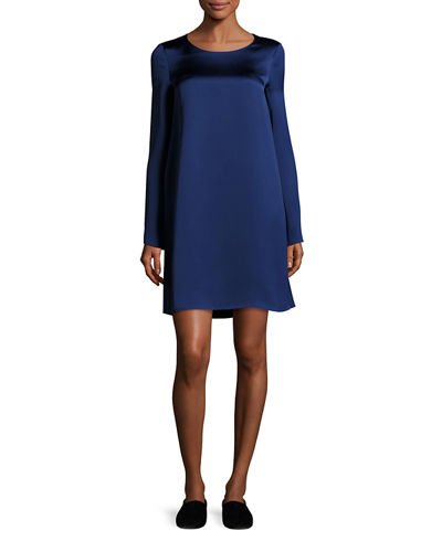 Kahlid Long-Sleeve Satin Minidress