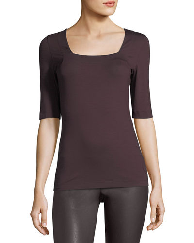 Square-Neck Half-Sleeve Top