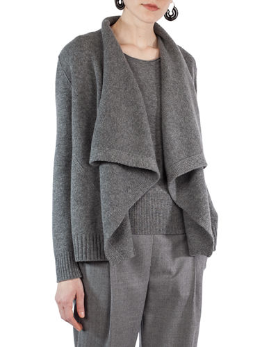 Draped Wool-Cashmere Cardigan Sweater