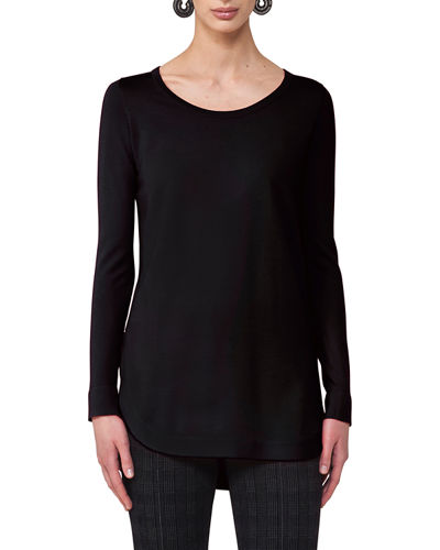 Round-Neck Wool Pullover Top