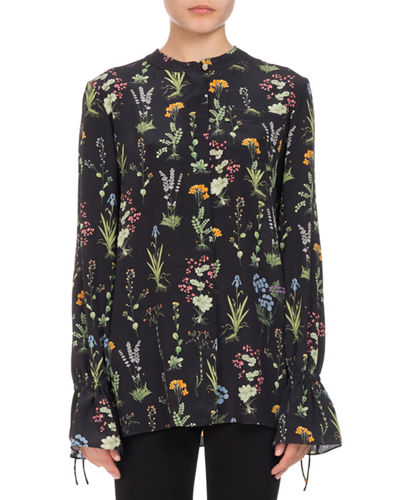 Christina Floral Silk Bell-Sleeve Shirt
