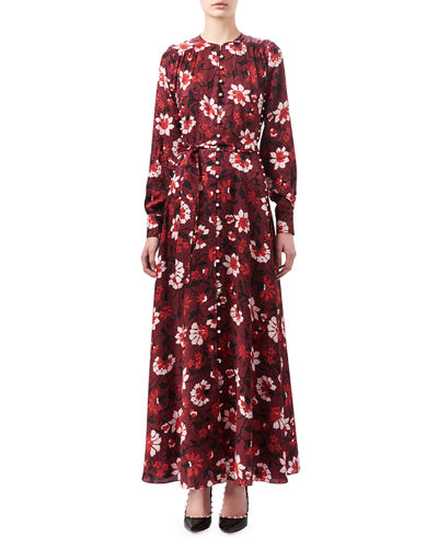 Altuzarra Melia Floral Silk Button-Front Maxi Dress