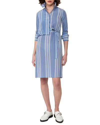 Akris Striped Silk Crepe Shirtdress