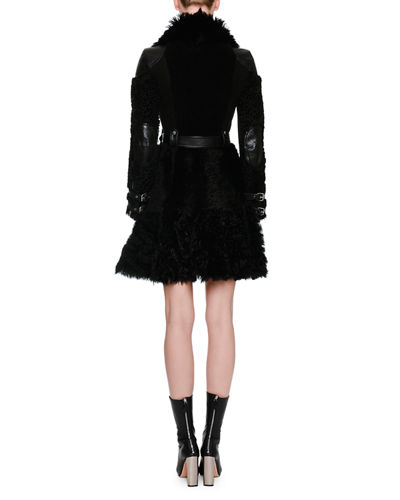 Shearling Fur Biker Coat