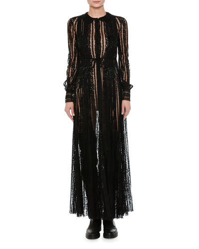 Long-Sleeve Embroidered Chiffon Gown