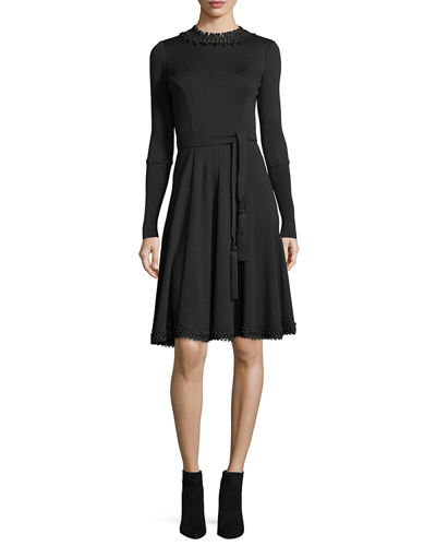 Round-Neck Tie-Waist Sweaterdress