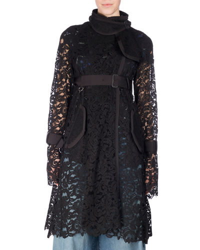 Belted Sheer Lace Coat