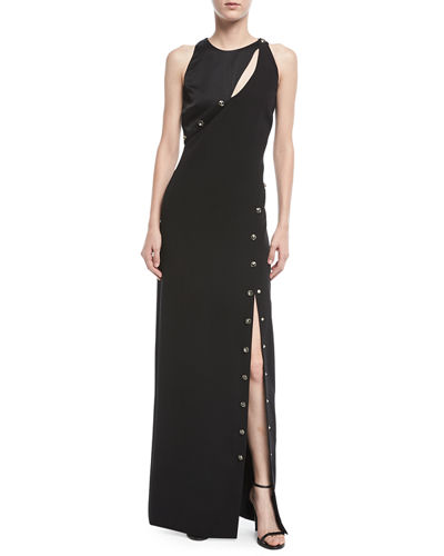 Asymmetric Button-Trim Column Gown