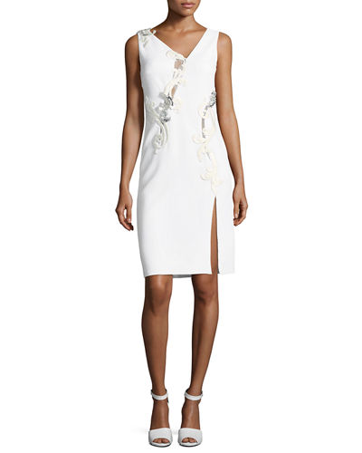 Sleeveless Bead-Embroidered Cocktail Dress