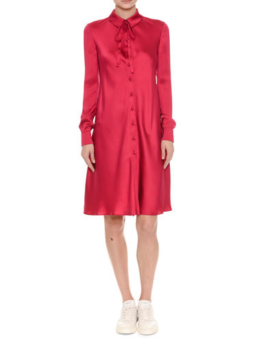 Silk Satin Tie-Neck Shirtdress