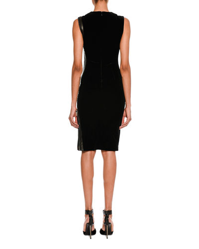 Sleeveless Leather-Trim Velvet Dress