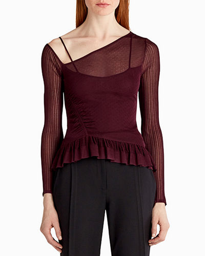 Asymmetric Sheer Knit Top
