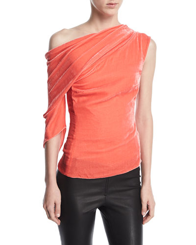 Draped Velvet One-Shoulder Top
