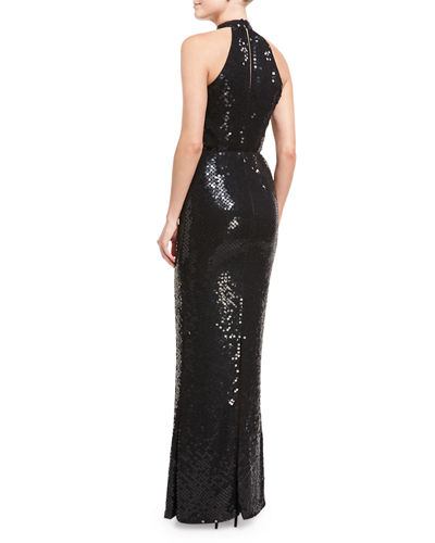 Sequined Halter Gown