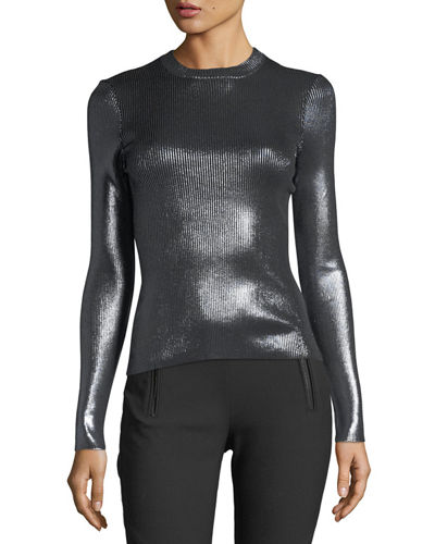Ribbed Metallic Crewneck Top