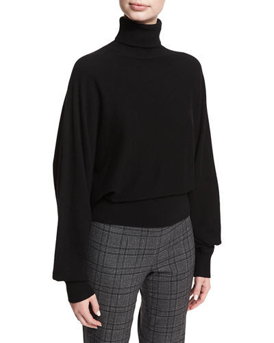 Cashmere Dolman-Sleeve Turtleneck Sweater