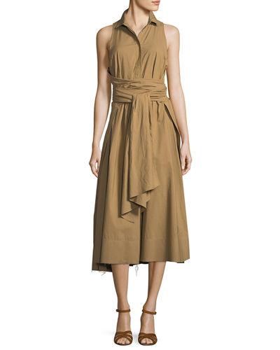 Sleeveless Poplin Tie-Waist Shirtdress