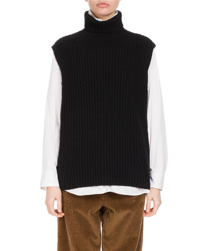 Tisha Ribbed Turtleneck Sweater Vest