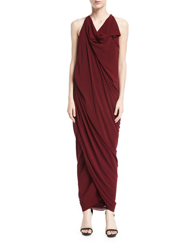 Convertible Draped Jersey Maxi Dress