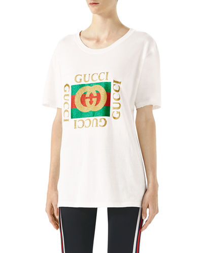 Gucci Glitter Print Cotton T-Shirt