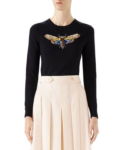 Butterfly-Embroidered Long-Sleeve Top