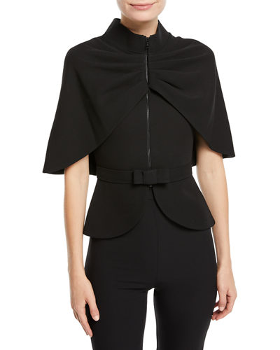 Zip-Front Cape-Sleeve Jacket