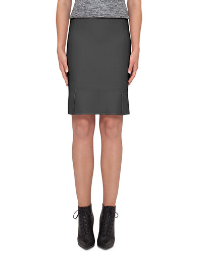 Notched-Hem Pencil Skirt, Black
