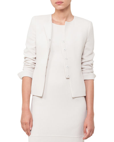 Round-Neck Wool-Crepe Jacket