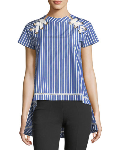 Lace-Up Striped High-Low Top