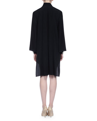 Crepe de Chine Scarf-Neck Dress